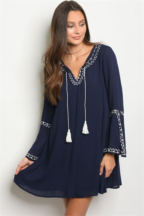 Navy and Ivory Tunic Dress