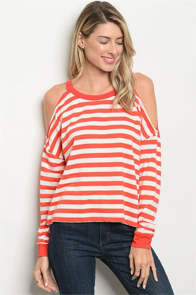 IVORY CORAL STRIPES TOP