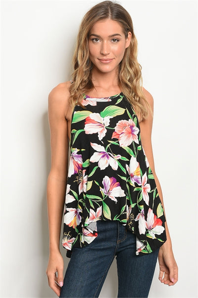 Let's Escape Black Floral Top