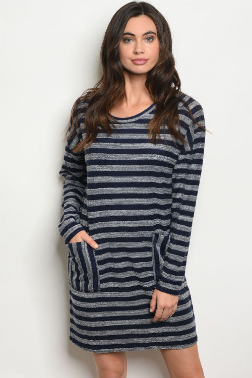 Navy Striped Knit Dress