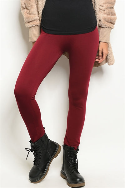 Wine Fleece Lined Leggings