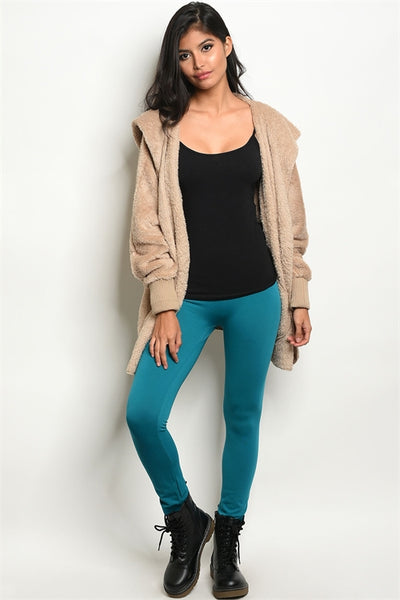 Teal Fleece Lined Leggings