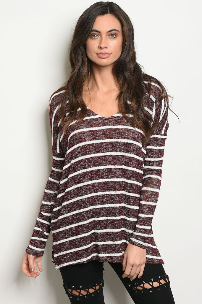 Bold In Burgundy Striped Sweater