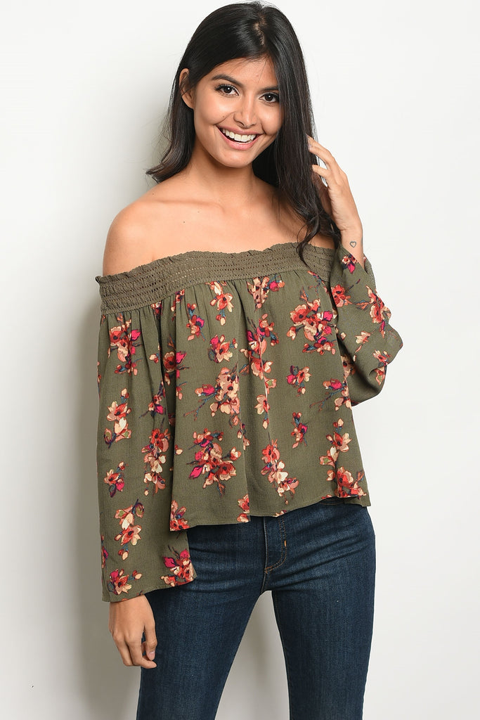 Alive in Olive Floral Top