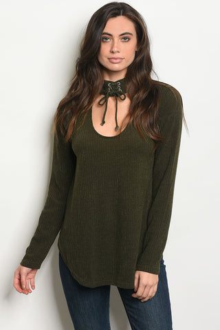 7ef4b3edc044b3 Green Choker Neck Top ...