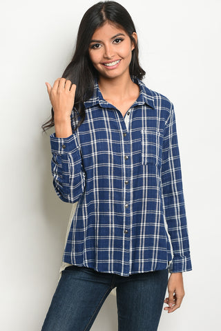 Flannel and Flocked Top
