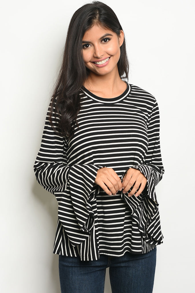 Black and Ivory Bell Knit Top
