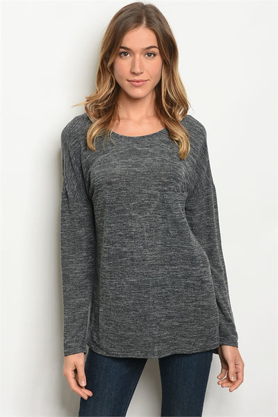 Criss Cross The Back Charcoal Top