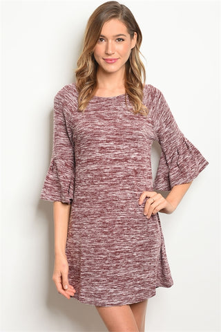 Slub Knit Tunic Dress - Burgundy