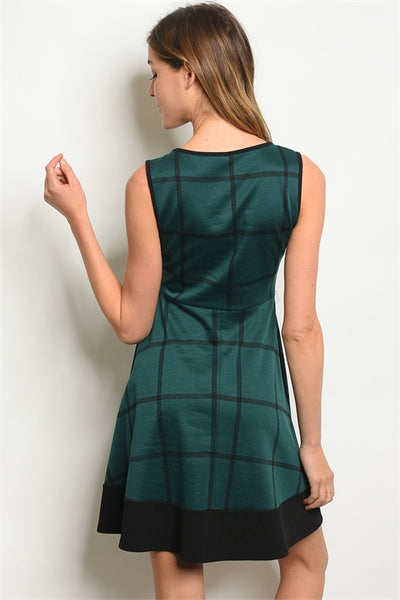 Checker Me Out Dress -Green