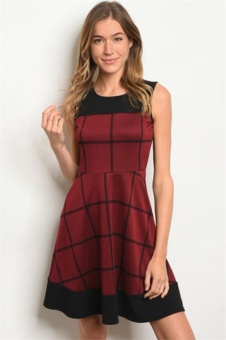 Checker Me Out Dress - Burgundy