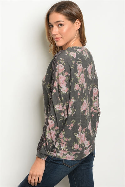 Charcoal Floral Top
