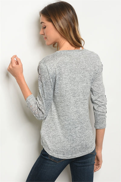 Gray Slub Knit Top
