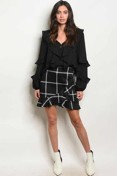 Black Plaid Skirt with Ruffle