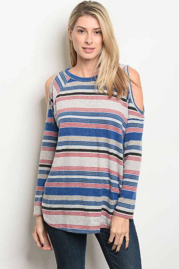 Stylish in Stripes Cold Shoulder Top