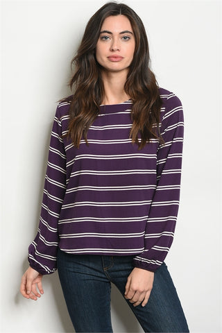 Passionate in Purple Stripe Top