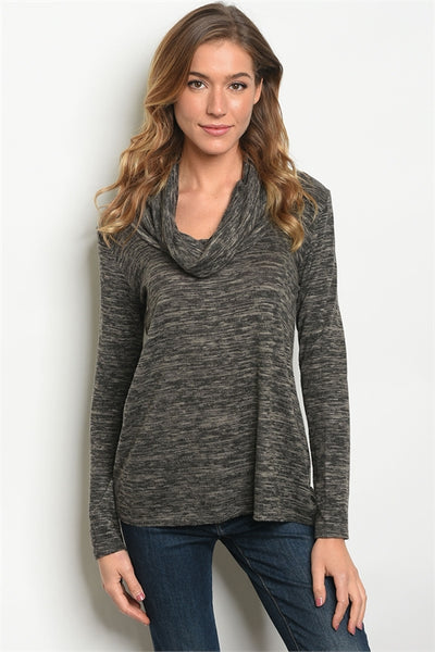 Cowl Slub Knit Top - Charcoal