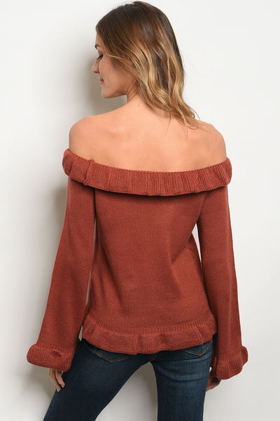 Ruffle the Rust Sweater