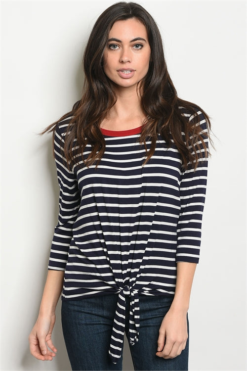 Knotted Navy Top