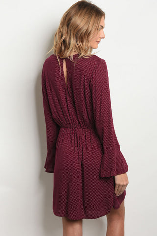 Dotted Burgundy Dress