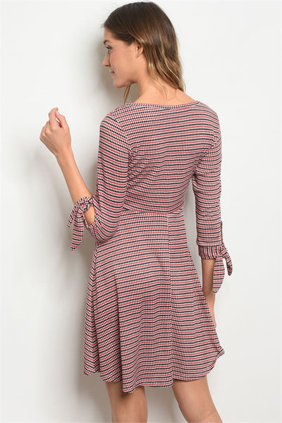 Talkin Houndstooth Dress - Red/Taupe