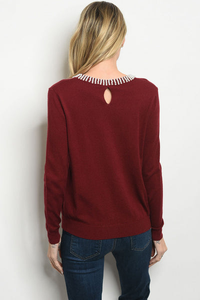 Burgundy and Pearls Sweater