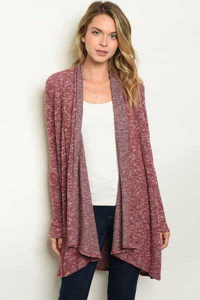 Casual Burgundy Cardigan