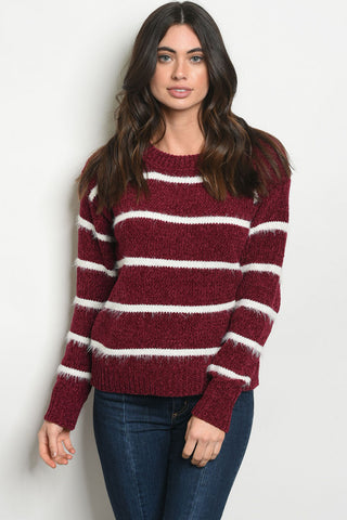 Brilliant in Burgundy Stripe Sweater