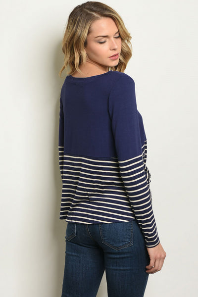 Twisted Navy Top