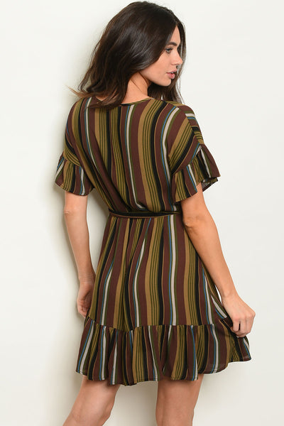 Brown Multi Stripes Dress