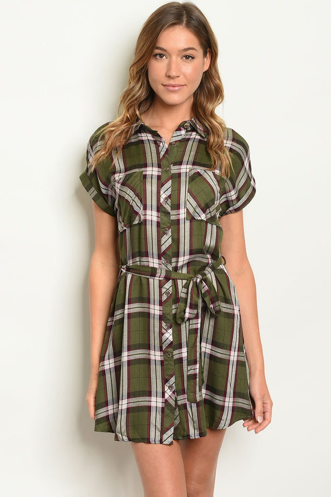Olive Plaid Shirt Dress