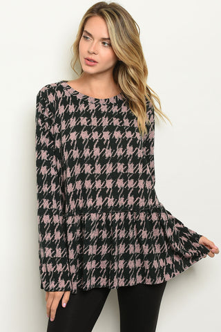 Houndstooth Hottie Tunic Top