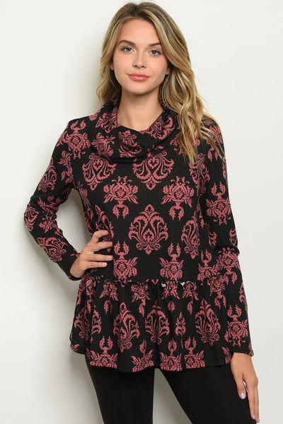 Black and mauve print top