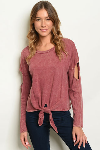 Burgundy Wash Top