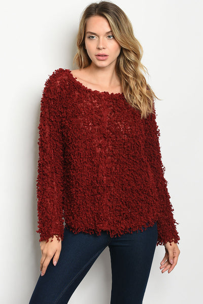 Burgundy Furry Sweater