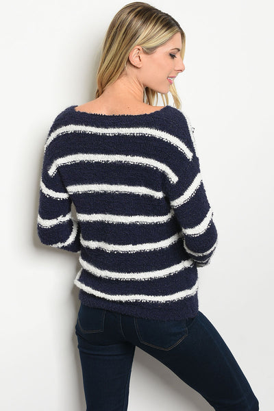 Bargain Babe - Navy & White Sweater