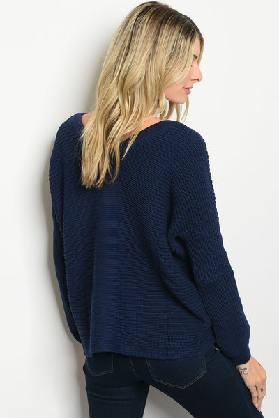 Navy Lace-up Sweater