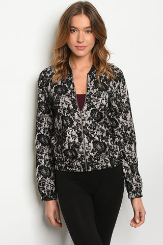 Black Lace Bomber Jacket