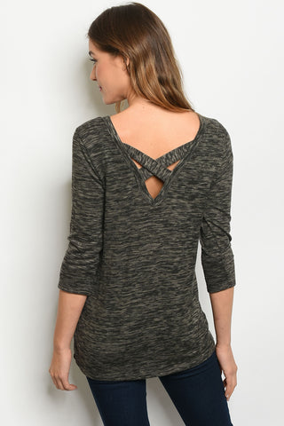 Charcoal Criss Cross Back Top