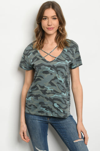 TEAL CAMOUFLAGE T-SHIRT