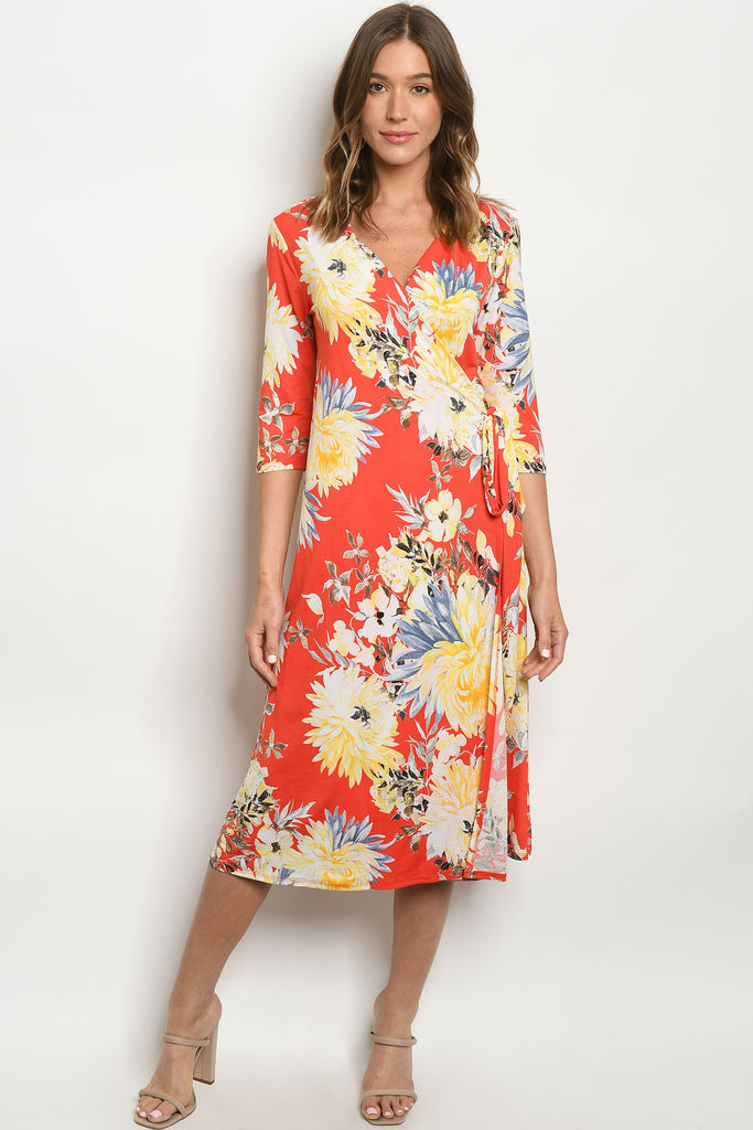 Orange & Yellow Floral Dress