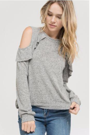 Ruffled by Cold Shoulders Top