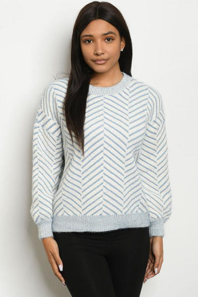 Cute in Blue Chevron Sweater