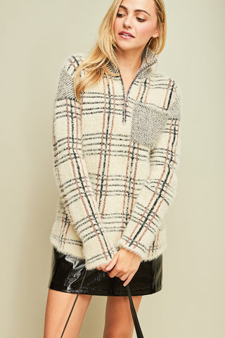 Fuzzy Plaid Print Pullover