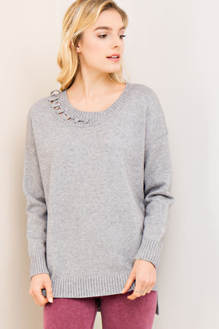 Sweet With An Edge Grey Sweater