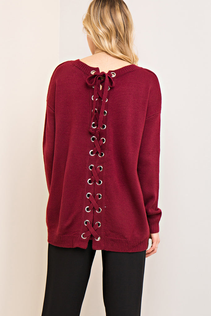 Burgundy Lace-up Back Sweater
