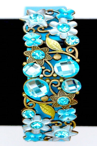 Turquoise Blue Flower Bracelet Fitfashions Charm