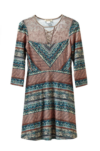 Fall Paisley Knitted Dress with Lace Yoke
