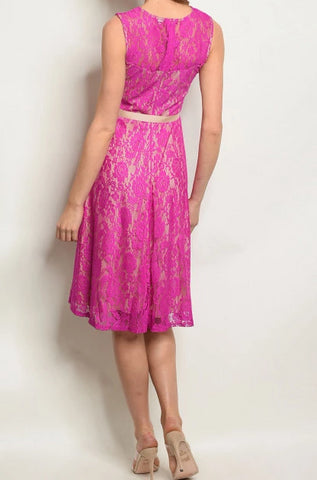 Fuchsia Lace-Over Shift Dress