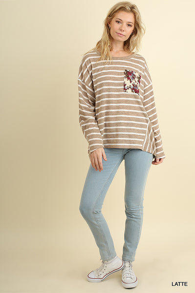 Beautiful Beige Stripes and Floral Top